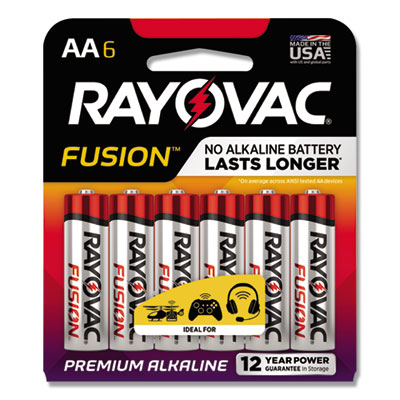 Rayovac Alkaline High Energy Batteries, AA, 6/Pk RAY8156FUSK 8156FUSK