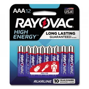 Rayovac High Energy Premium Alkaline Battery, AAA, 12/Pack RAY82412K 82412K