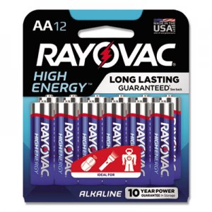 Rayovac High Energy Premium Alkaline Battery, AA, 12/Pack RAY81512CF DISCONTINUED