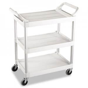 Rubbermaid Commercial Service Cart, 200-lb Capacity, Three-Shelf, 18.63w x 33.63d x 37.75h, Off-White RCP342488OWH