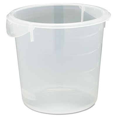 Rubbermaid Commercial Round Storage Containers, 4qt, 8 1/2 dia x 7 3/4h, Clear RCP572124CLE FG572124CLR