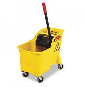 Rubbermaid Commercial Tandem 31qt Bucket/Wringer Combo, Yellow RCP738000YEL FG738000YEL