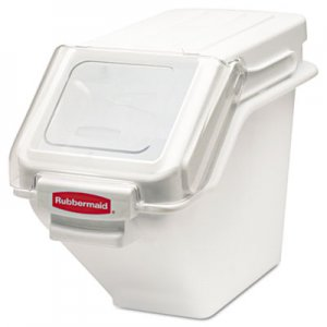 Rubbermaid Commercial ProSave Shelf Ingredient Bins, 5.4gal, 11 1/2w x 23 1/2d x 16 7/8h, White