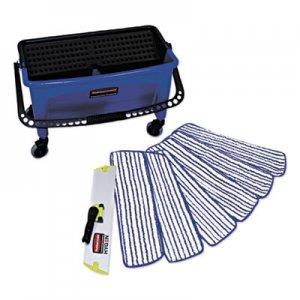 Rubbermaid Commercial Microfiber Floor Finishing System, 3 gal, Blue/Black/White RCPQ050 FGQ050000000