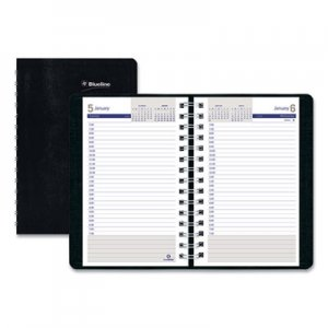 Blueline DuraGlobe Daily Planner Ruled For 30-Minute Appointments, 8 x 5, Black, 2019 REDC21021T C210.21T
