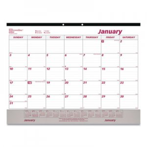 Brownline Monthly Desk Pad Calendar, 22 x 17, White/Maroon, 2019 REDC1731V C1731V