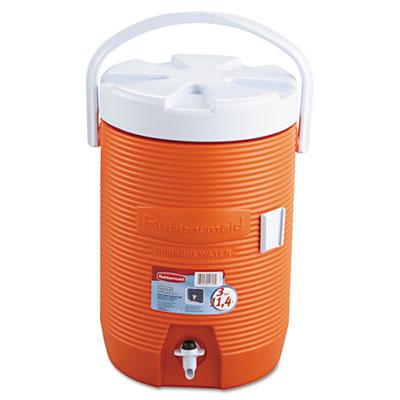 "Rubbermaid Water Cooler, 12 1/2"" dia x 16 3/4h, Orange RUB1683ORG 1683ORG"