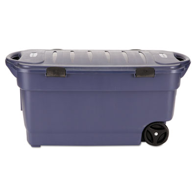 Rubbermaid Roughneck Wheeled Storage Box, 45gal, Dark Indigo Metallic UNXRMRT450000 RMRT450000