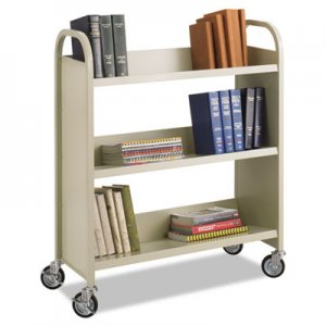 Safco Steel Book Cart, Three-Shelf, 36w x 14.5d x 43.5h, Sand SAF5358SA 5358SA