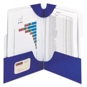Smead SuperTab Two-Pocket Folder, 11 x 8 1/2, Blue, 5/Pack SMD87964 87964