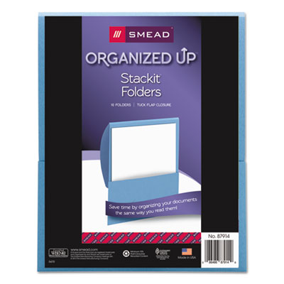 Smead Organized Up Stackit Folder, Textured Stock, 11 x 8 1/2, Blue, 10/Pack SMD87914 87914