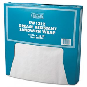 Bagcraft Grease-Resistant Paper Wrap/Liner, 12 x 12, White, 1000/Box, 5 Boxes/Carton BGC057012 P057012