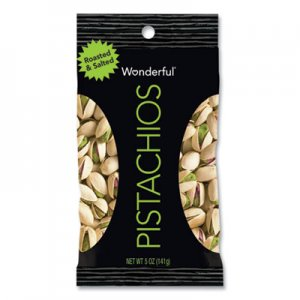 Paramount Farms Wonderful Pistachios, Dry Roasted and Salted, 5 oz, 8/Box PAM072142WTV PAR072142WTV