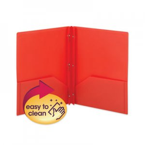 Smead Poly Two-Pocket Folder w/Fasteners, 11 x 8 1/2, Red, 25/Box SMD87727 87727