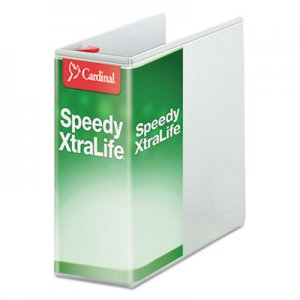 "Cardinal Speedy XtraLife Non-Stick Locking Slant-D Ring Binder, 5"" Cap, 11 x 8 1/2, White CRD59150 59150"