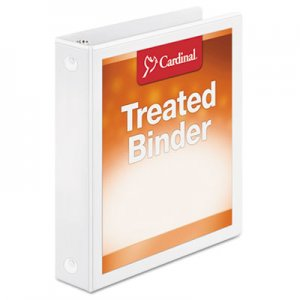 "Cardinal Treated Binder ClearVue Locking Round Ring Binder, 3 Rings, 1.5"" Capacity, 11 x 8.5, White CRD32215 32215"