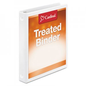 "Cardinal Treated Binder ClearVue Locking Round Ring Binder, 3 Rings, 1"" Capacity, 11 x 8.5, White CRD32200 32200"