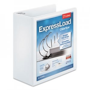 "Cardinal ExpressLoad ClearVue Locking D-Ring Binder, 3 Rings, 4"" Capacity, 11 x 8.5, White CRD49140 49140"
