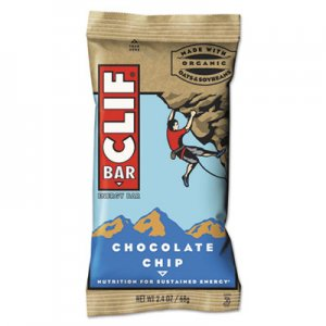 CLIF Bar Energy Bar, Chocolate Chip, 2.4oz, 12/Box CBC160004 CCC160004