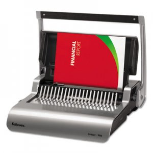 Fellowes Quasar 500 Manual Comb Binding System, 18 1/8 x 15 3/8 x 5 1/8, Metallic Gray
