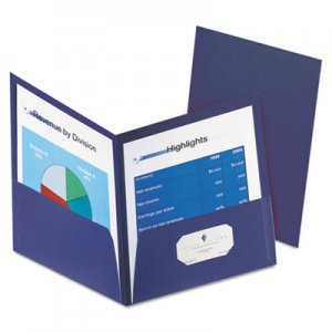 "Oxford Honeycomb High-Capacity Twin Pocket Folders, 1"" Capacity, Dark Blue, 4/Pack OXF59626234 59626234"