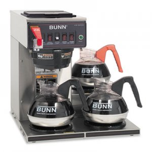 BUNN CWTF-3 Three Burner Automatic Coffee Brewer, Stainless Steel, Black BUNCWTF153LP 12950.0212