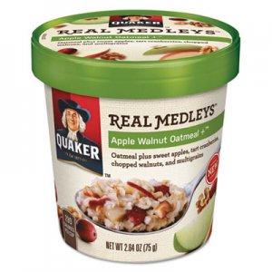 Quaker Real Medleys Oatmeal, Apple Walnut Oatmeal+, 2.64 oz Cup, 12/Carton QKR15504 030000315507