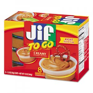 Jif To Go Spreads, Creamy Peanut Butter, 1.5 oz Cup, 8/Box SMU24136 5150024136