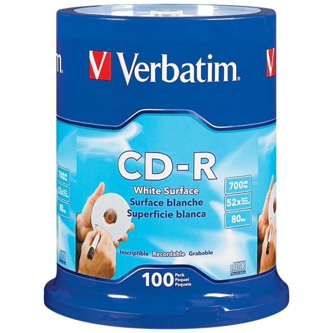 Verbatim CD-R 80MIN 700MB 52x Blank White Surface 100pk Spindle 94712