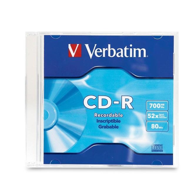 Verbatim CD-R 80MIN 700MB 52x 1pk Slim Case 94776