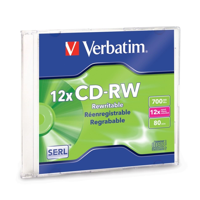 Verbatim CD-RW 80MIN 700MB 4x-12x High Speed Branded 1pk Slim Case 95161