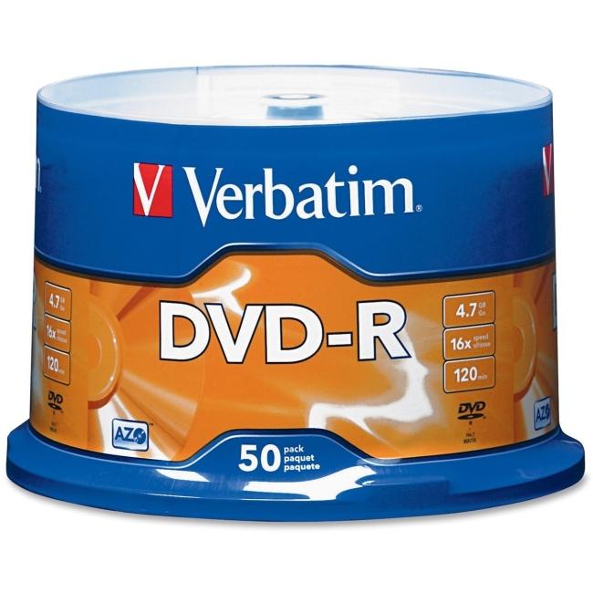 Verbatim DVD-R 4.7GB 16x 50pk Spindle 95101