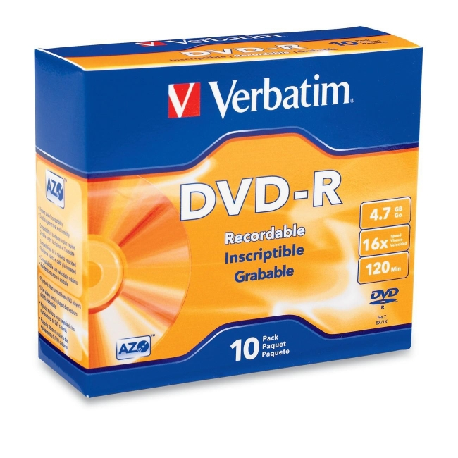 Verbatim DVD-R 4.7GB 16x 10pk Slim Case 95099