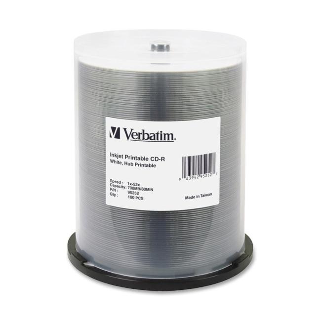 Verbatim CD-R 80MIN 700MB 52x White Inkjet Printable, Hub Printable 100pk Spindle 95252