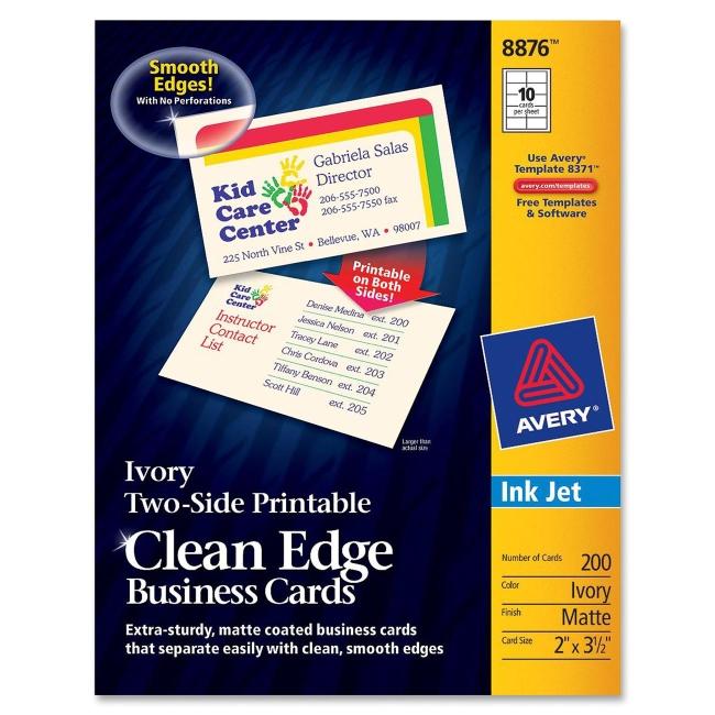 Avery Clean Edge Inkjet Business Card 8876