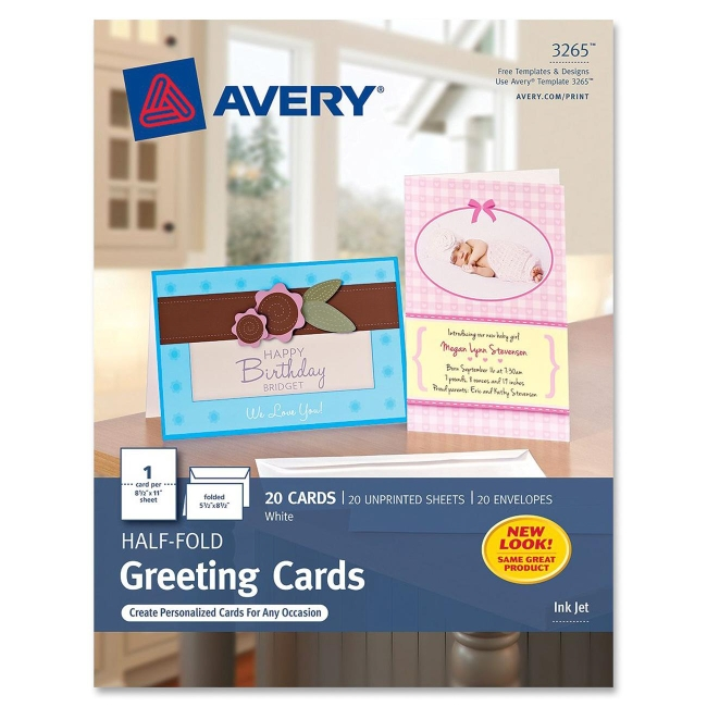 Avery Half-fold Greeting Card 3265