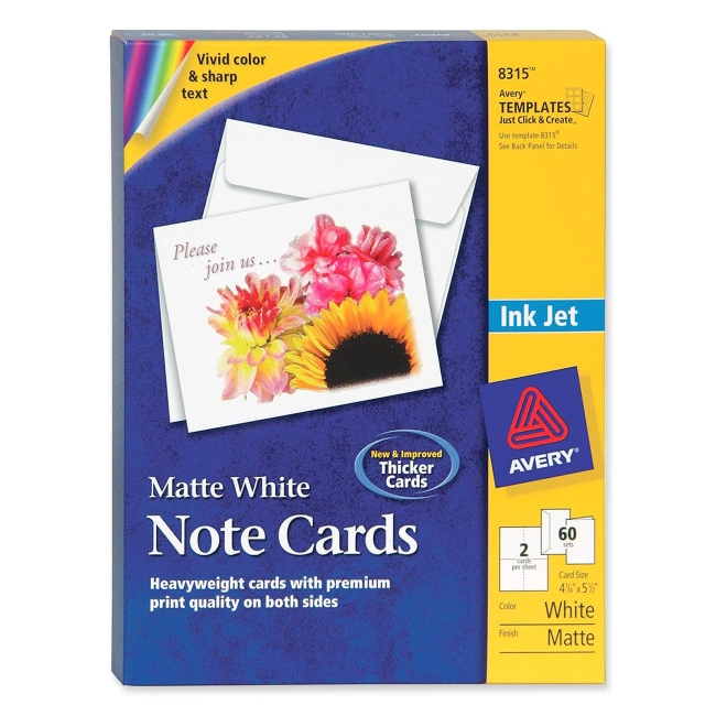 Avery Inkjet Matte Coated Note Card 8315