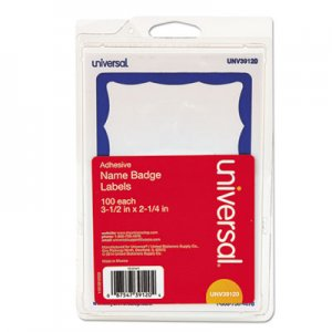 Genpak Border-Style Self-Adhesive Name Badges, 3 1/2 x 2 1/4, White/Blue, 100/Pack UNV39120