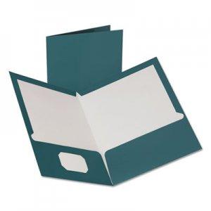 Oxford Two-Pocket Laminated Folder, 100-Sheet Capacity, Metallic Teal, 25/Box OXF5049561 5049561