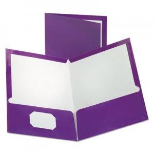 Oxford Two-Pocket Laminated Folder, 100-Sheet Capacity, Metallic Purple OXF5049526 5049526