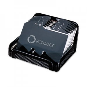 Rolodex Metal/Mesh Open Tray Business Card File Holds 125 2 1/4 x 4 Cards, Black ROL22291ELD 22291ELD