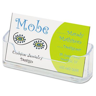 deflecto Horizontal Business Card Holder, 3 3/4w x 1 7/8h x 1 1/2d, Clear 70101 DEF70101
