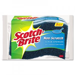 Scotch-Brite Non-Scratch Multi-Purpose Scrub Sponge, 4 2/5 x 2 3/5, Blue, 3/Pack MMMMP38D MP