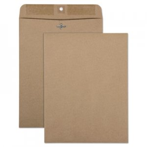 Quality Park 100% Recycled Brown Kraft Clasp Envelope, 9 x 12, Brown Kraft, 100/Box QUA38711