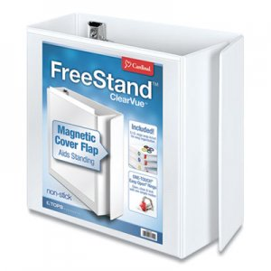 "Cardinal FreeStand Easy Open Locking Slant-D Ring Binder, 5"" Cap, 11 x 8 1/2, White CRD43150 43150"