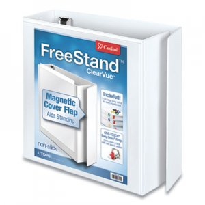 "Cardinal FreeStand Easy Open Locking Slant-D Ring Binder, 3"" Cap, 11 x 8 1/2, White CRD43130 43130"