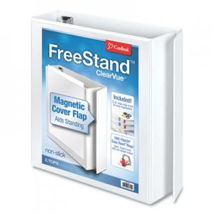 "Cardinal FreeStand Easy Open Locking Slant-D Ring Binder, 3 Rings, 2"" Capacity, 11 x 8.5, White CRD43120 43120"