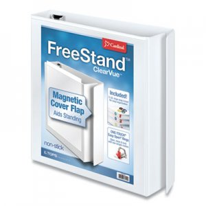 "Cardinal FreeStand Easy Open Locking Slant-D Ring Binder, 1 1/2"" Cap, 11 x 8 1/2, White CRD43110"