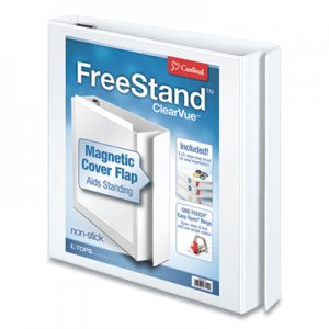 "Cardinal FreeStand Easy Open Locking Slant-D Ring Binder, 3 Rings, 1"" Capacity, 11 x 8.5, White CRD43100 43100"
