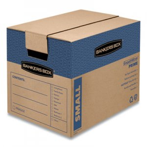 "Bankers Box SmoothMove Prime Moving & Storage Boxes, Small, Regular Slotted Container (RSC), 16"" x 12"" x 12"", Brown Kraft/Blue"